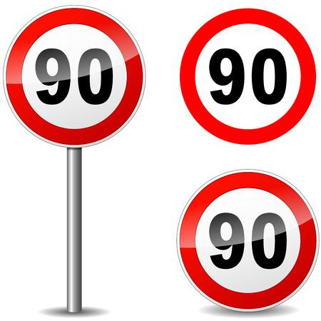 ninety: Vector illustration of ninety regulation sign on white background