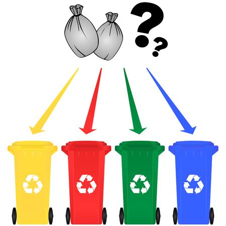 cesto basura: Ilustración vectorial de la clasificación selectiva de basura