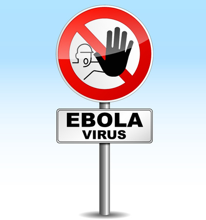 Vector illustration of stop ebola virus signpost on sky background Vector