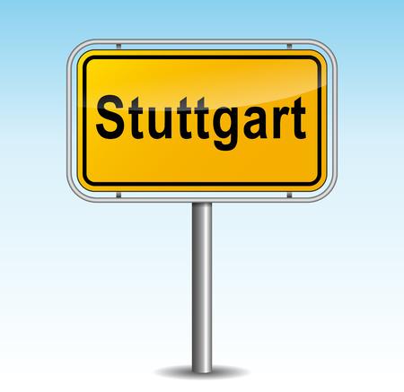 stuttgart: Vector illustration of stuttgart signpost on sky background