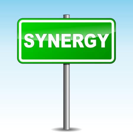 synergie: Vektor-Illustration von Synergie Wegweiser auf Himmel Hintergrund Illustration