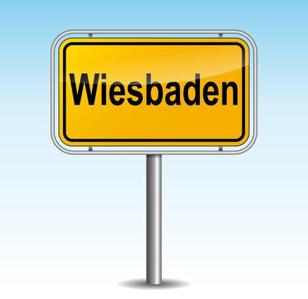 Vector illustration of wiesbaden signpost on sky background Illustration