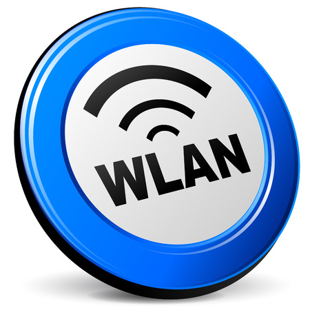 wlan: Vector illustration of wlan 3d blue icon on white background Illustration