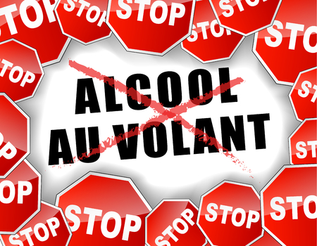 drunk driving: Vector french illustration of stop drunk driving
