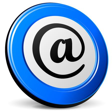 arobase: Vector illustration of arobase blue icon on white background
