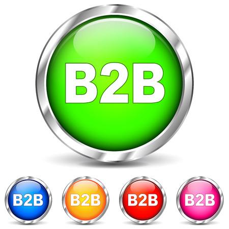 Vector illustration of b2b chrome icons on white background