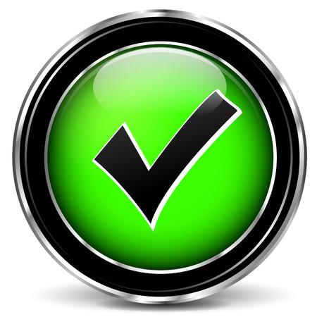 Vector illustration of check mark green icon on white background Illustration