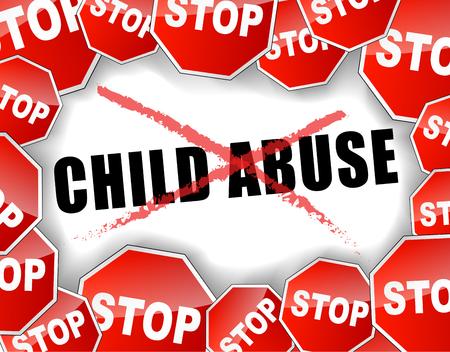 maltrato infantil: Ilustraci�n vectorial de parada concepto de abuso infantil de fondo