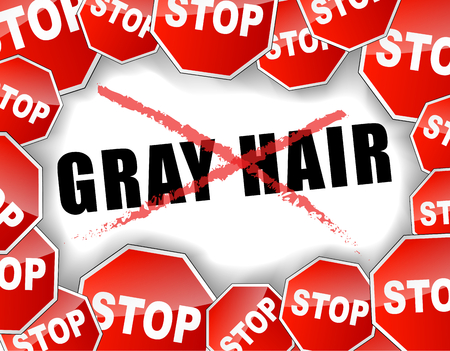 gray hair: Vector illustration of stop gray hair concept background