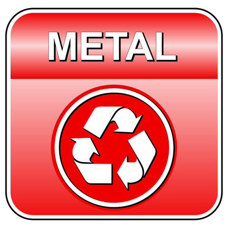 Vector illustration of metal recycle icon on white background Illustration