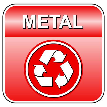 Vector illustration de métal icône de recyclage sur fond blanc