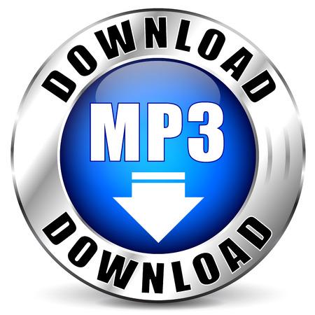 live stream sign: Vector illustration of chrome blue mp3 icon Illustration