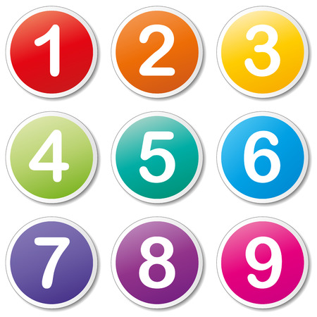 Vector illustration of numbers icons on white background