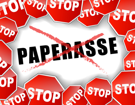 the paperwork: Vector french illustration of stop paperwork concept background