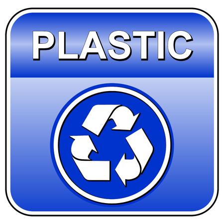 Vector illustration de plastique icône de recyclage sur fond blanc