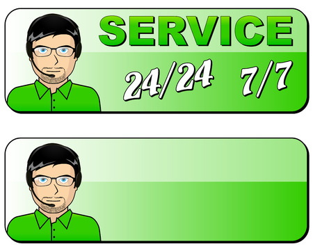 Vector illustration of service all time green icon Vector