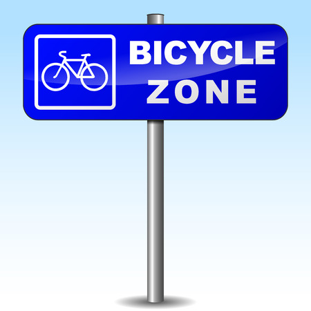 Vector illustration of bicycle zone signpost on sky background Vector