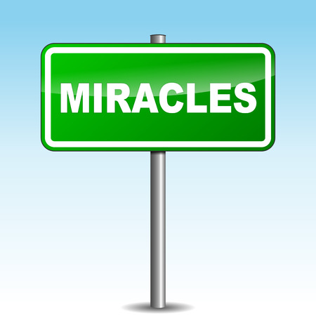marvel: Vector illustration of miracles signpost on sky background Illustration
