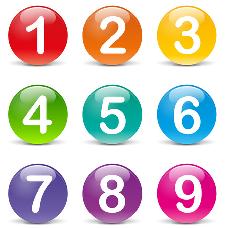 numero nueve: Ilustración del vector de números de colores iconos en el fondo blanco