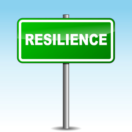 resilience: Vector illustration of resilience signpost on sky background