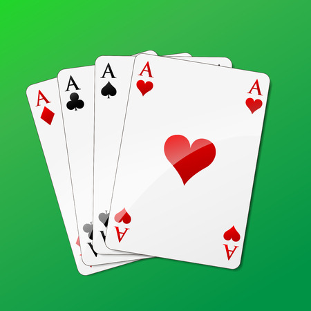 Vector illustration of square of aces on green background Vector