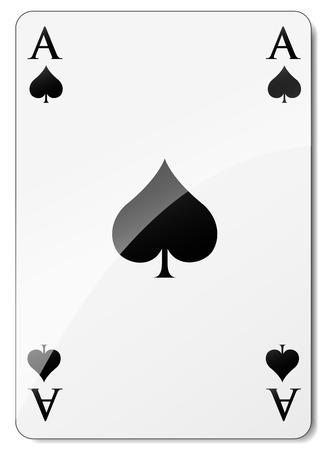 Vector illustratie van schoppenaas op witte achtergrond Stock Illustratie