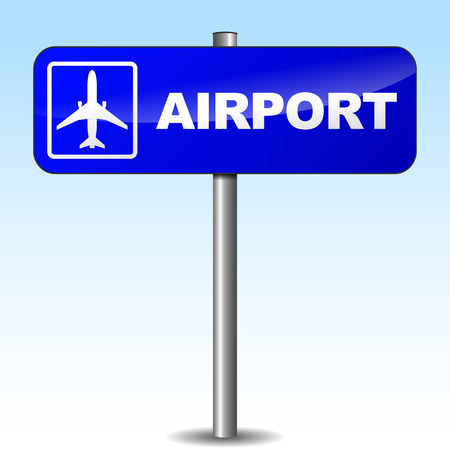 Vector illustration of airport sign on sky background Vector