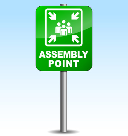 fire safety: Vector illustration of vertical assembly point sign on sky background