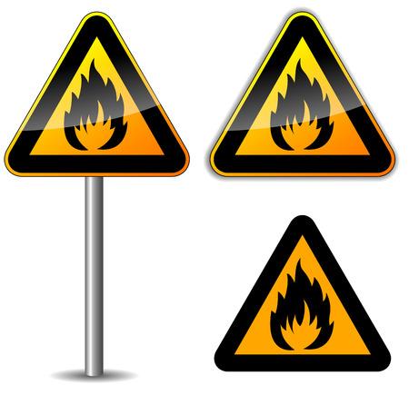 Vector illustration of flammable sign on white background Illustration