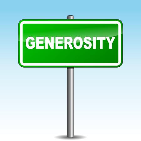 amiability: Vector illustration of generosity signpost on sky background