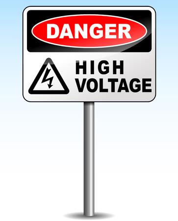 Vector illustration of high voltage sign on sky background