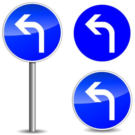 Vector illustration of left blue roadsign on white background Vector