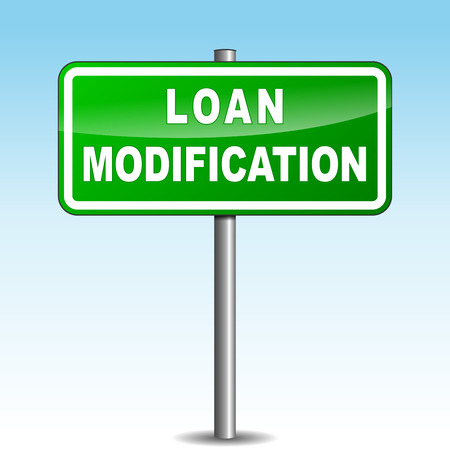 modification: Vector illustration of loan modification signpost on sky background Illustration