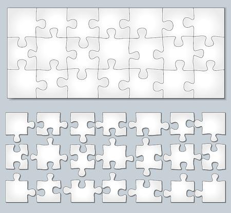 Vector illustratie van horizontale puzzel met afzonderlijke elementen