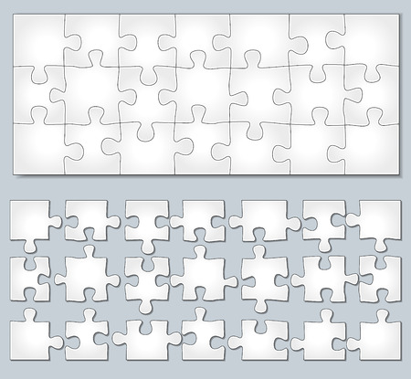 separate: Vector illustration of horizontal jigsaw puzzle with separate elements