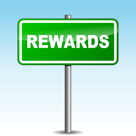 recompense: Vector illustration of rewards signpost on sky background