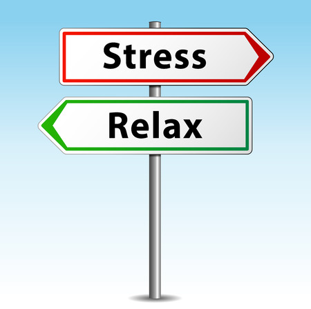 workload: Vector illustration of stress and relax concept signpost