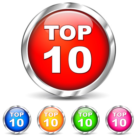Vector illustration of top ten chrome icons on white background