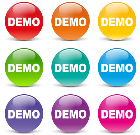 illustration of demo set icons on white background Vector