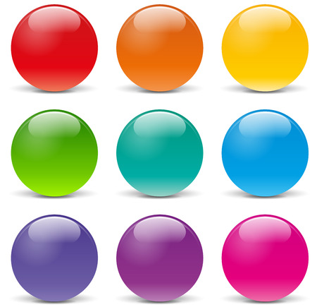 illustration of sphere icons on white background