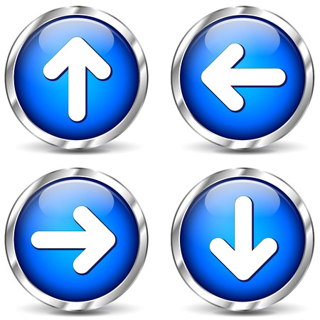 illustration of blue arrows icons on white background