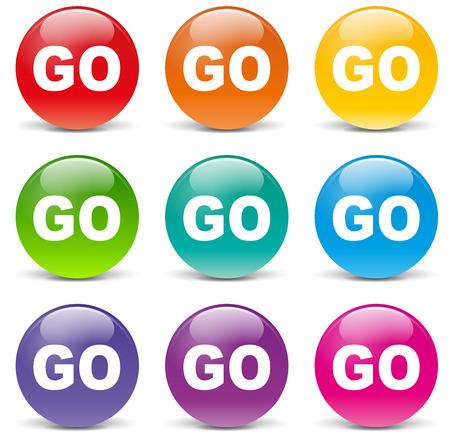 illustration of go set icons on white background Illustration