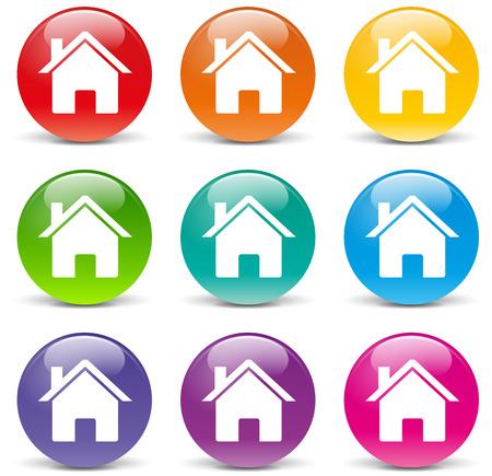 illustratie van huis set iconen op een witte achtergrond
