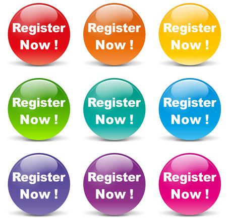 signup: illustration of register set icons on white background