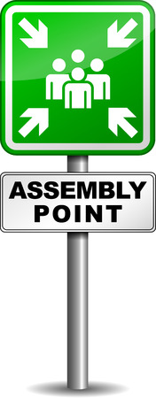 assembly point:  illustration of assembly point roadsign on white background