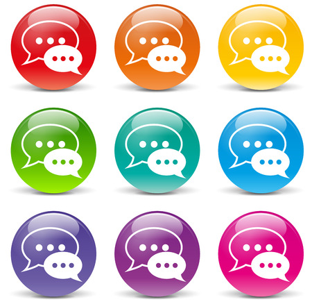 illustration of chat icons on white background Vector
