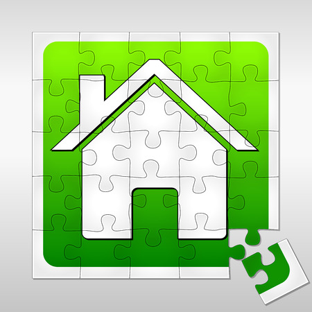 illustration of green house concept on a puzzle Vector