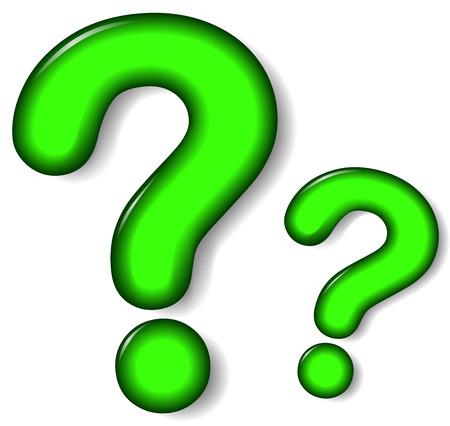 interrogation point: illustration of green question mark on white background Illustration