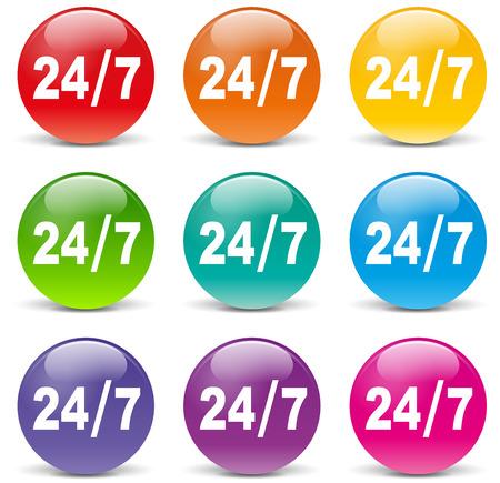 twenty four hours: illustration of twenty four hours access icons