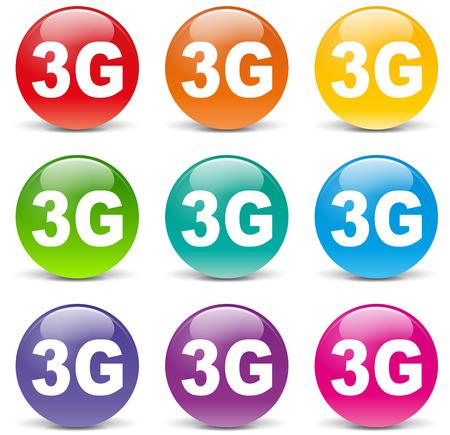 3g: Ilustraci�n de iconos de 3g en el fondo blanco Vectores